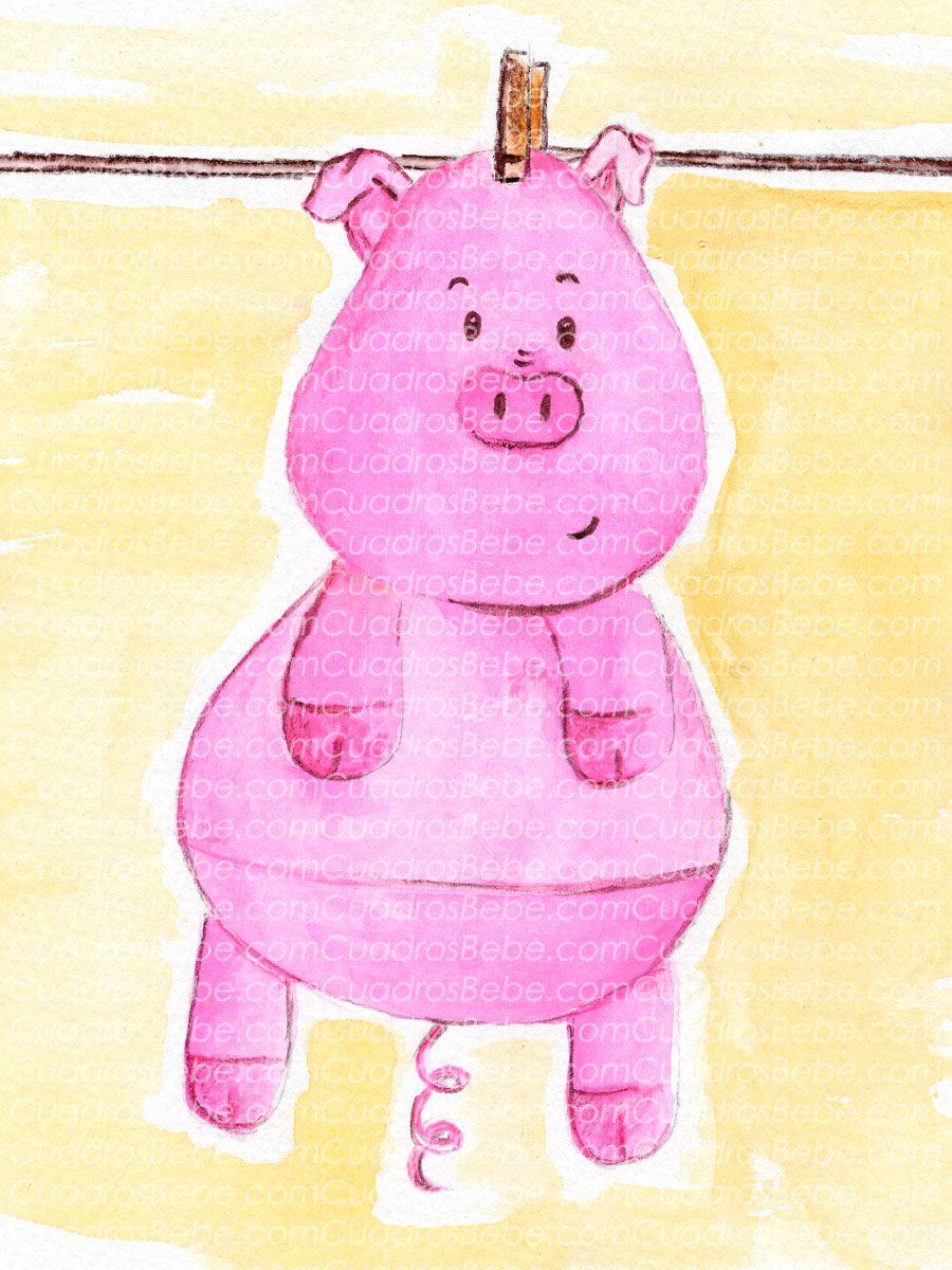Cuadro bebe cerdo o cerdito de peluche, pintado a mano con pintura y ...