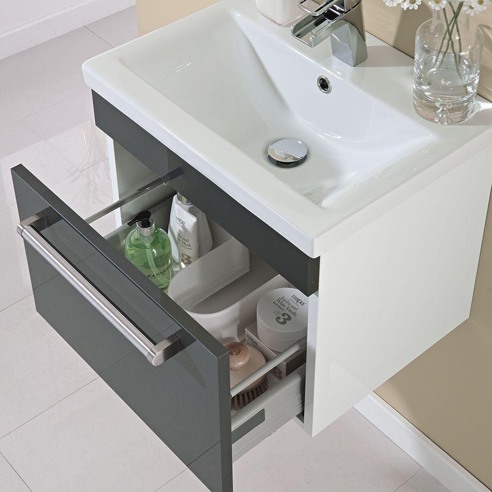 500mm Wall Hung Single Drawer Vanity Unit Gloss Grey Image 3 Vanity Units Wall Hung Vanity Basin Vanity Unit
