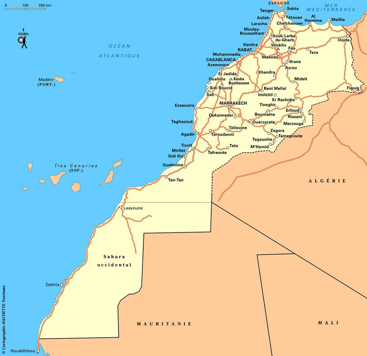 carte détaillée du maroc gratuite