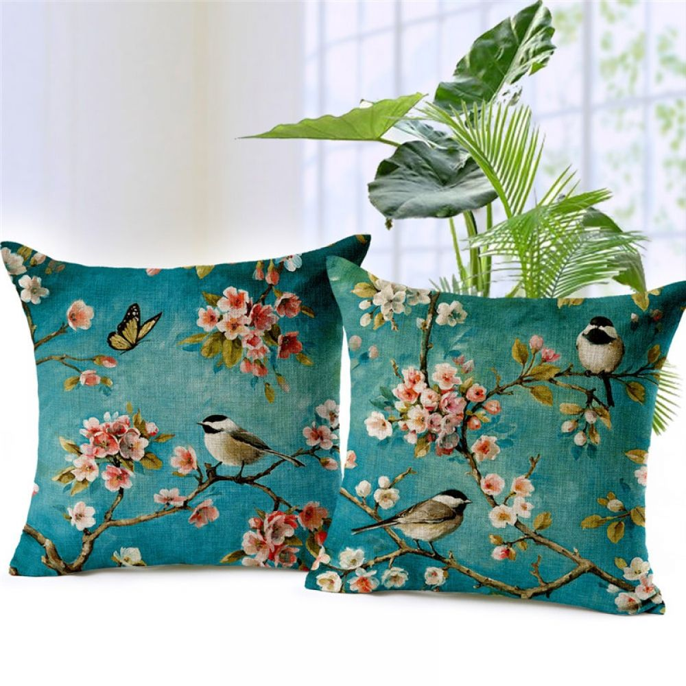 Flowers And Birds Printed Cushion Covers Colorful Pillows Decorative Cushion Covers Linen Pillow Cases