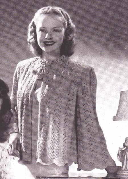 Vintage Bed Jacket Crochet Pattern Ladies Bed Jacket 1940s Vintage