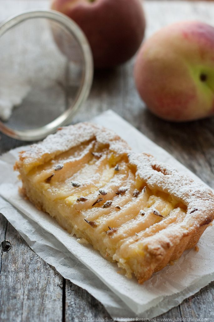 White peach and lavender tart, a recipe by Juls' Kitchen.  I can already taste it melting in my mouth with a hint of lavender.