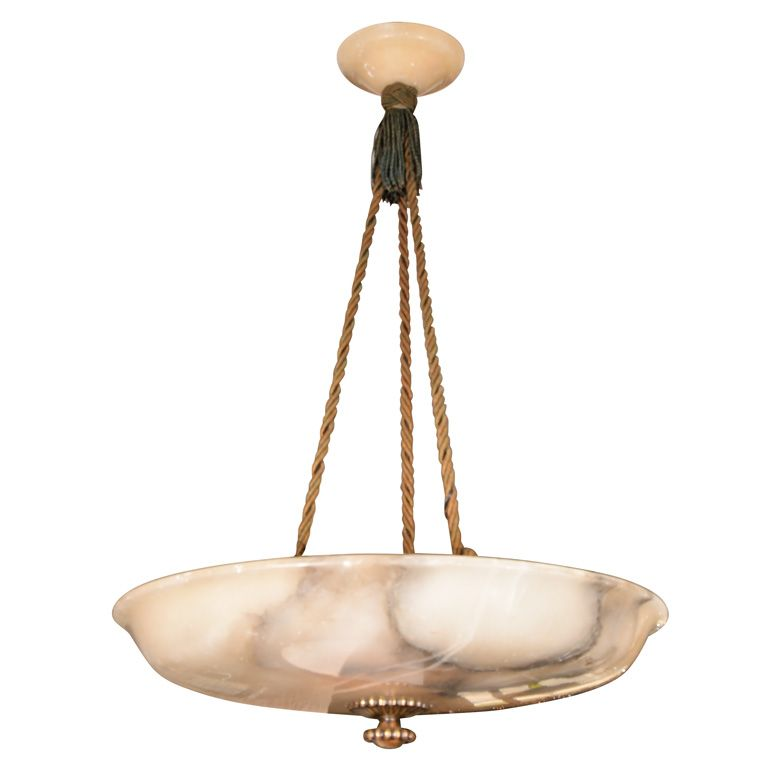 Large European Alabaster Bowl From A Unique Collection Of Antique And Modern Chandeliers Pendants At