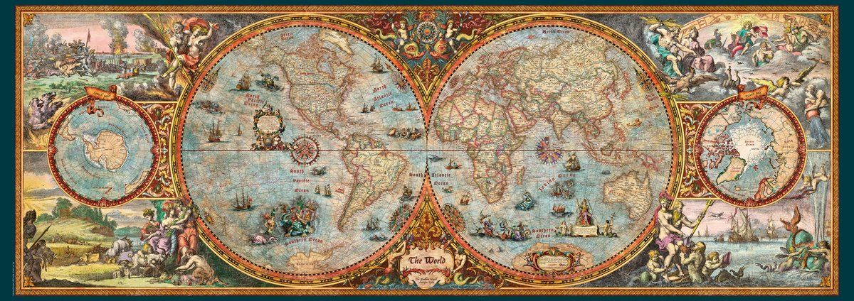 Old World Map Jigsaw Puzzle Map wall mural, Map puzzle