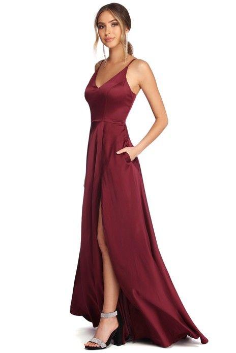 0163ce970bc Alexandria Burgundy Formal High Slit Dress