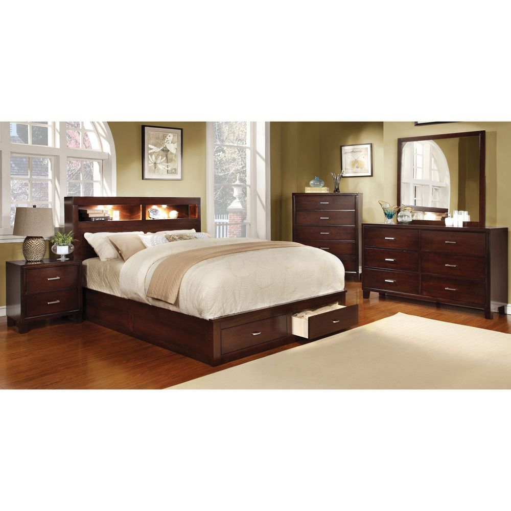 Furniture of America Clement 4-Piece Storage Bedroom Set with ...