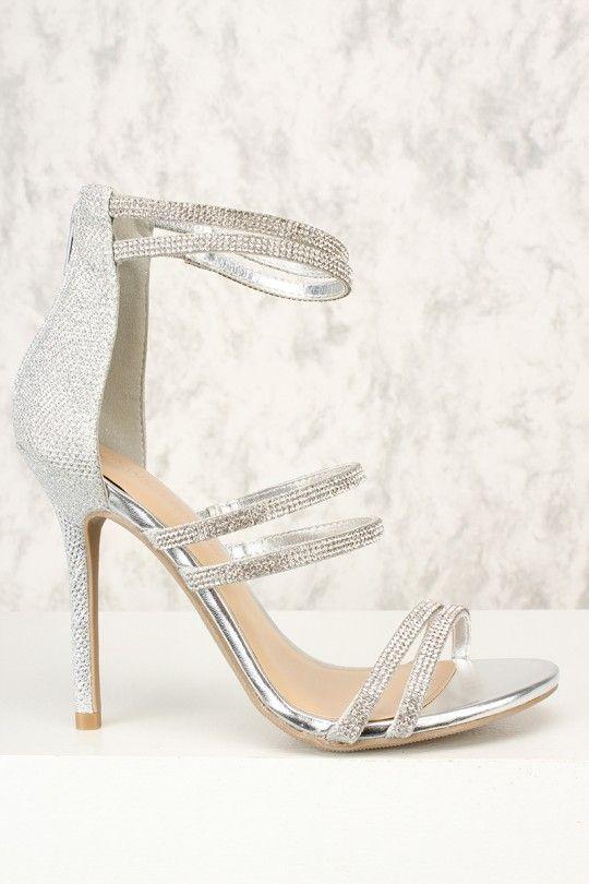 4fc69e79a4b Sexy Silver Rhinestone Open Toe Single Sole High Heels   my style ...