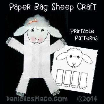Sheep paper bag puppet craft for psalm 23 sunday school for Cardboard sheep template