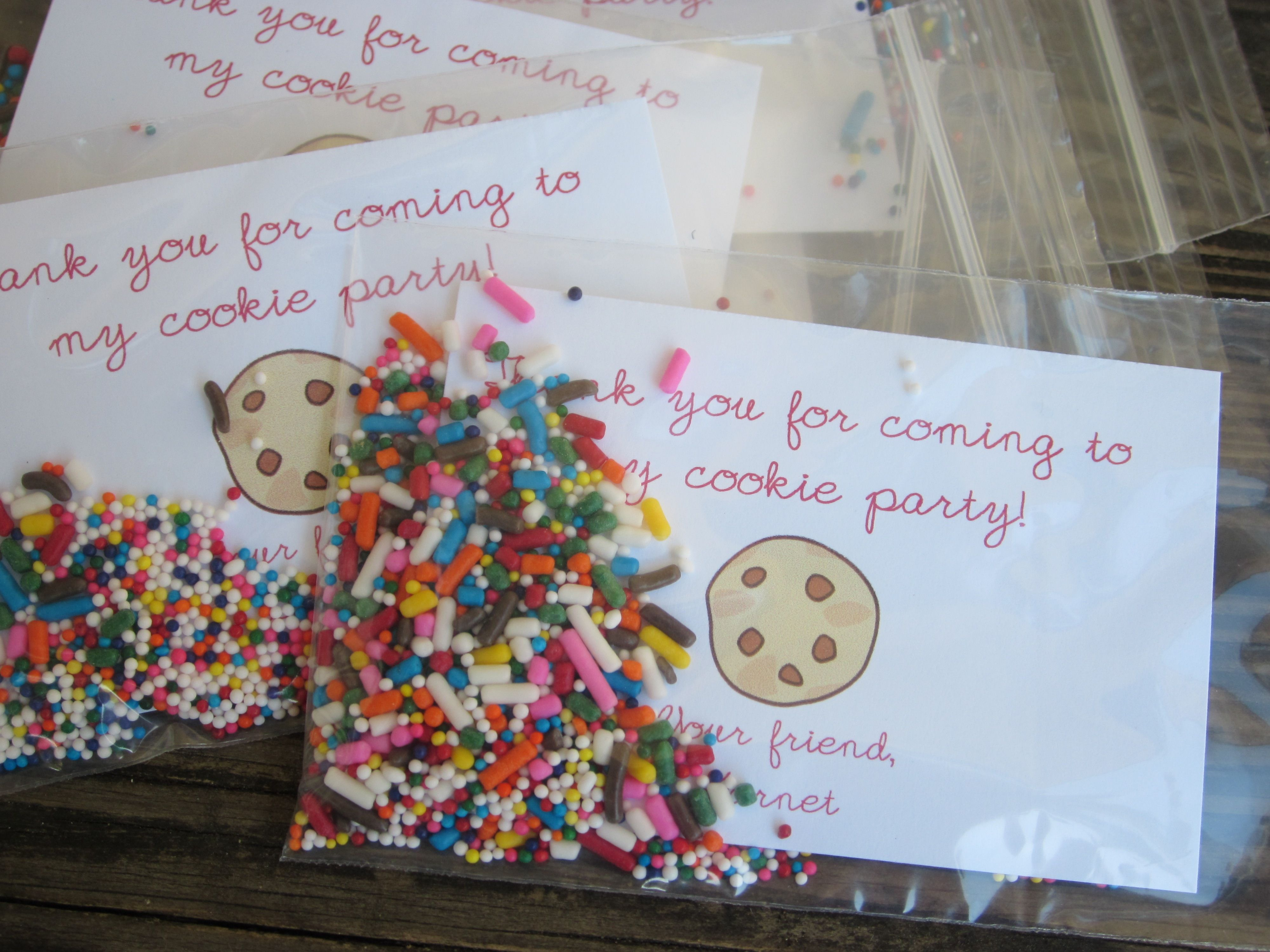 Cookie decorating party ideas - Cookie Decorating Party Favors Send Little Thank You Sprinkles With Any Cookies The Guests Decorated