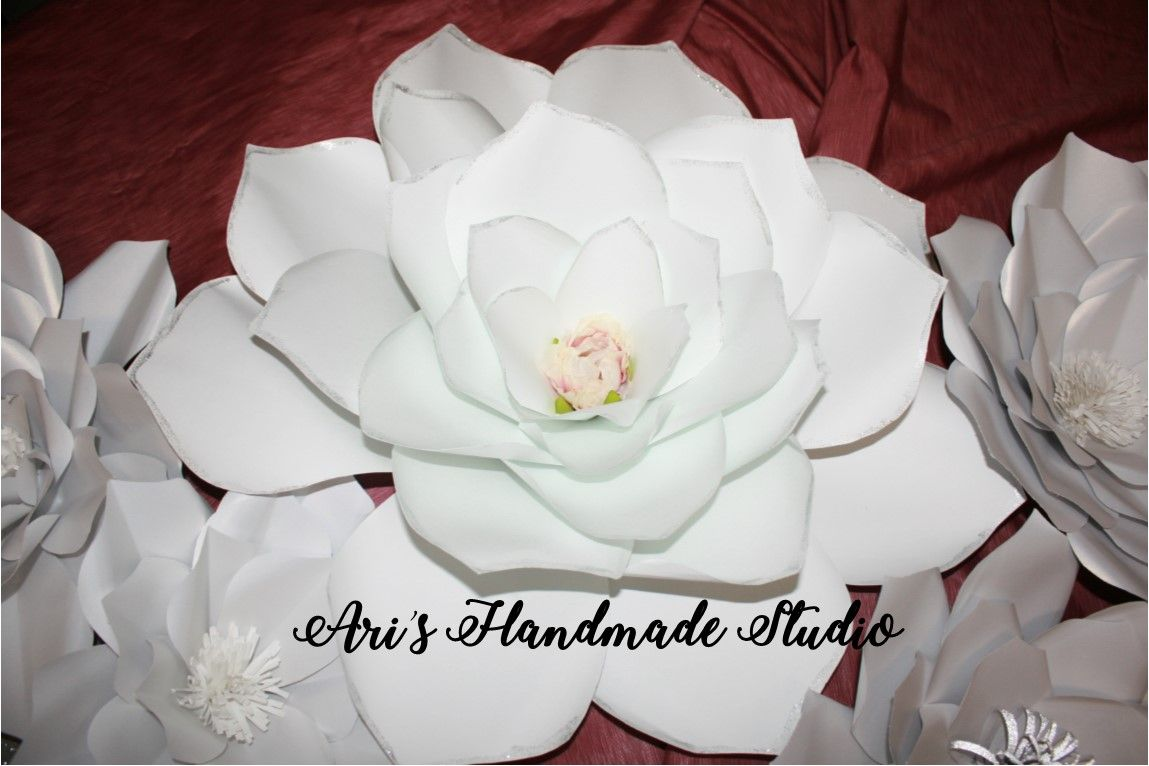 Extra Large Chic White Flower With Silver Glitter Edges And Silk