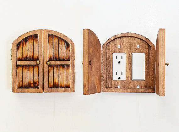 distressed wood fairy hobbit door double outlet switchplate cover home decor halfling door - Decorative Outlet Covers