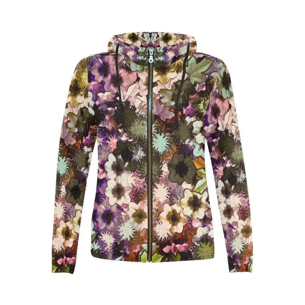 My Secret Garden #3 Night - Jera Nour All Over Print Full Zip Hoodie for Women (Model H14)