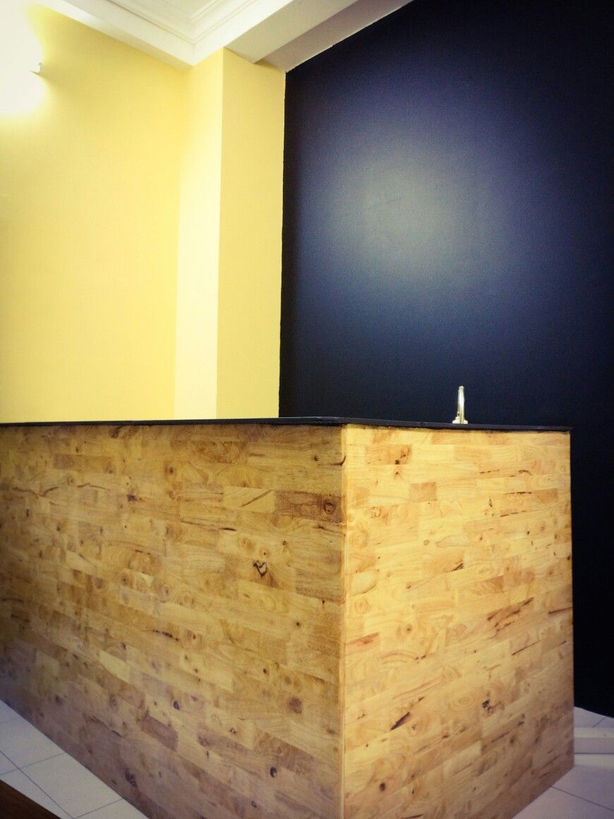 Blackboard painted wall and bar done! WeeWee family cafe in progress ...