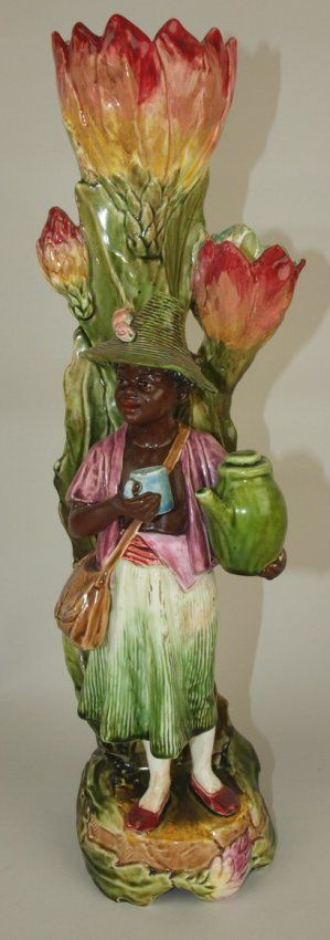 Majolica Blackmour Figural Vase Repair To Figure And Lot 3111