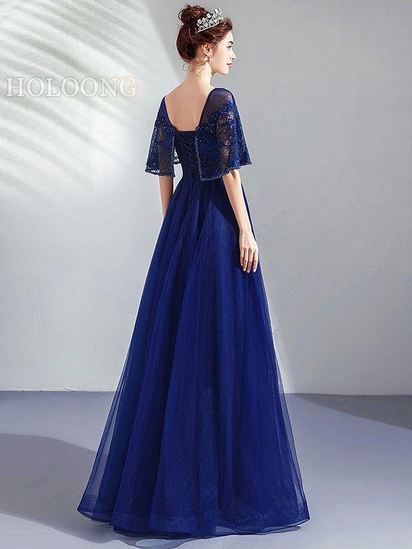 Long dress Gauze Floor-Length NavyBlue Half-sleeve Evening Dresses