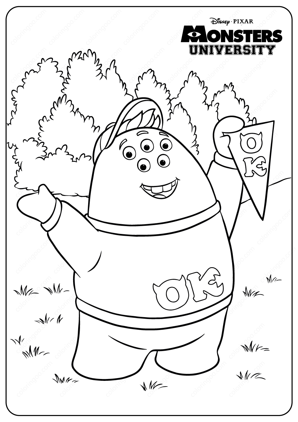 printable monsters university squishy coloring pages in