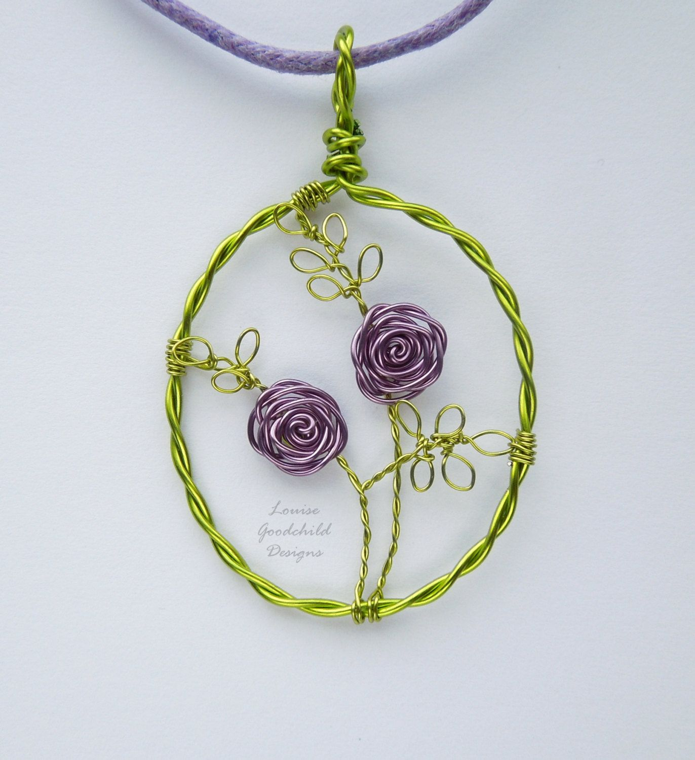 Lilac Rose pendant, wire rose pendant, flower jewelry, wire rose ...