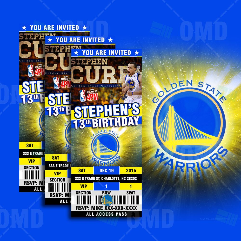 Golden State Warriors Sports Ticket Style Party Invites