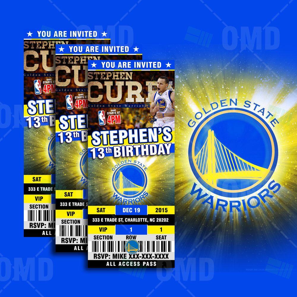 Google themes nba - 2 5x6 Golden State Warriors Sports Party Invitation Nba Sports Tickets Invites Basketball