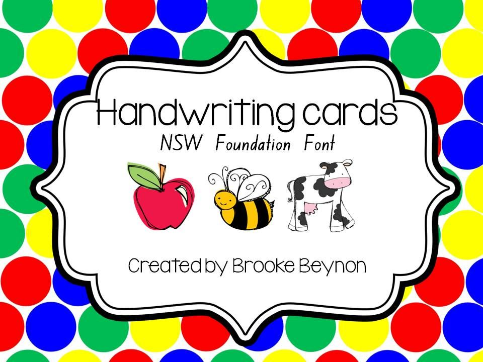 Handwriting Cards - NSW Foundation Font - Give your students a ...