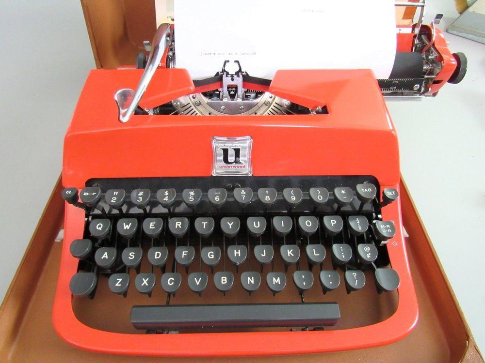 Minty Vintage Orange Portable Underwood Golden Touch Deluxe Typewriter In Case Underwood Typewriter Portable Typewriter Underwood