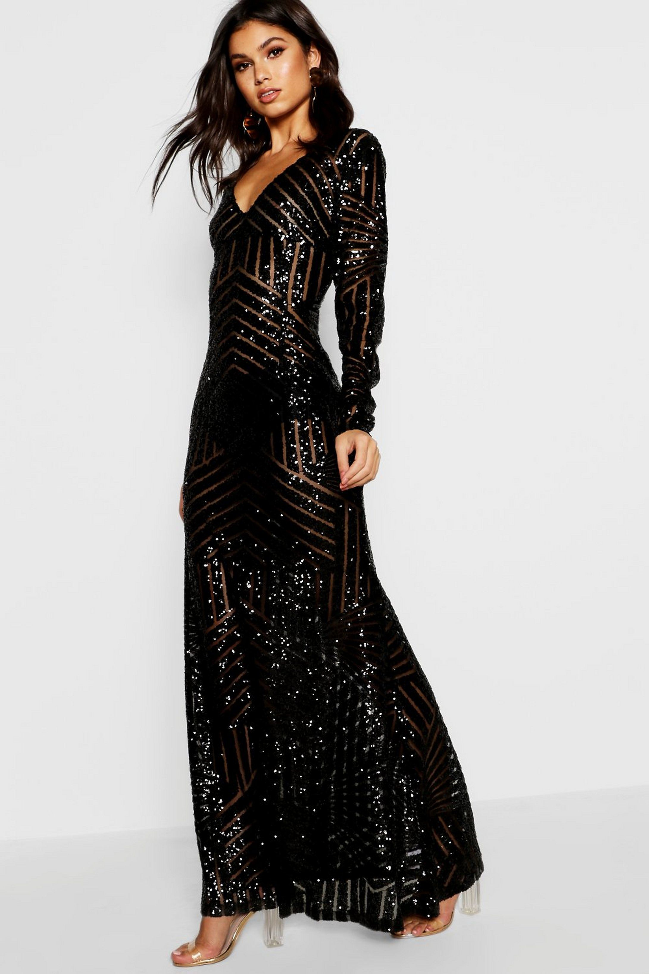 Boutique sequin long sleeve maxi bridesmaid dress boohoo