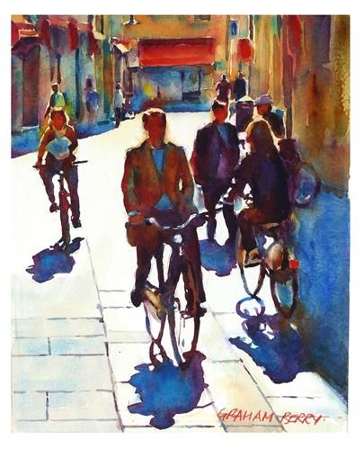 """Cycling in the city."" - Original Fine Art for Sale - © Graham Berry"