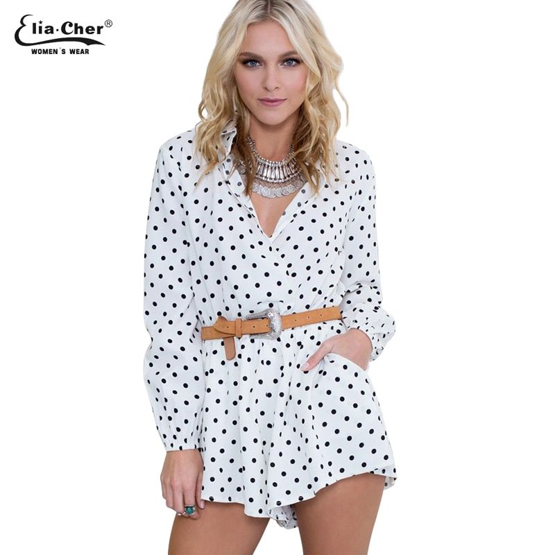 76f236334792  26.5 - Nice Full Sleeve Jumpsuits Women Rompers Elia Cher Brand 2017 Plus  Size Casual Women Clothing Chic Fashion Dot Print Rompers 6702 - Buy it Now!