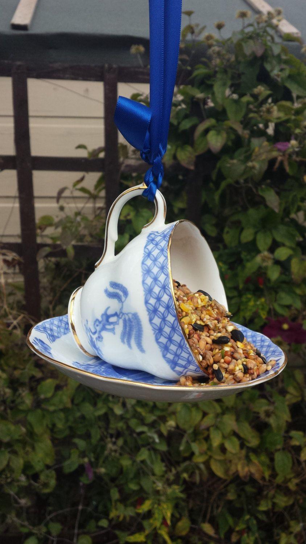 Teacuo bird feeder, vintage fine china teacup repurposed