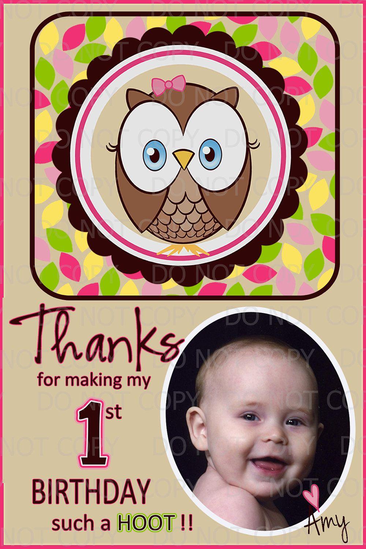 Printable DIY Owl First Birthday Theme Thank You Card