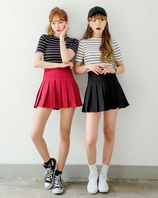 Tennis Skirt Striped Tee Korean Street Fashion Korean Fashion Trends Tennis Skirt Outfit