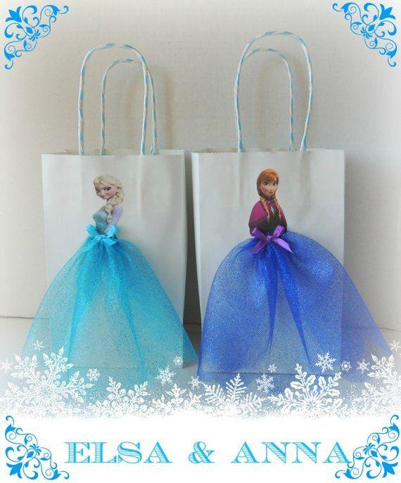 10 Pieces Frozen Elsa Anna Paper Tutu Birthday Favor Goody Gift Bags