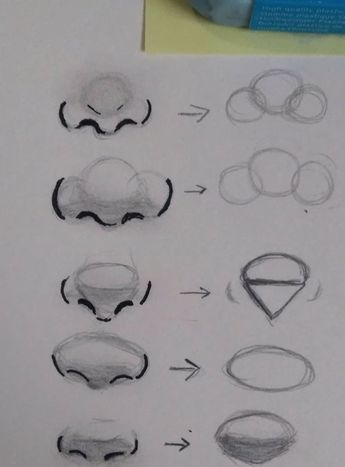 Different Nose Shapes Semi Realistic Draw Nose Semirealistic Shapes Nose Drawing Drawing Tutorial Drawings