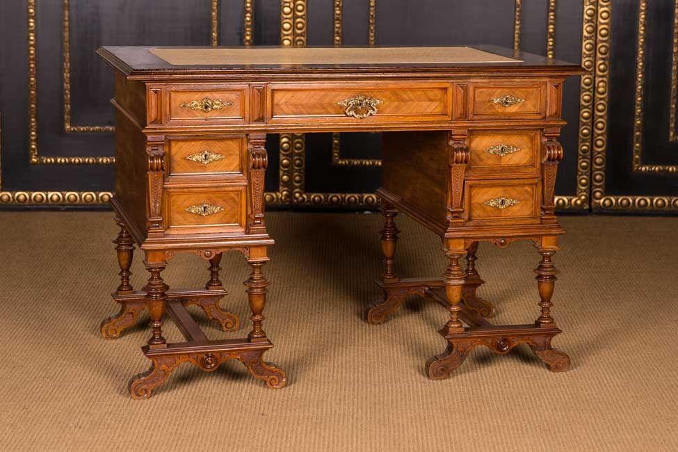 Antiker Gründerzeit Schreibtisch Um 1880 Nussbaum Möbel