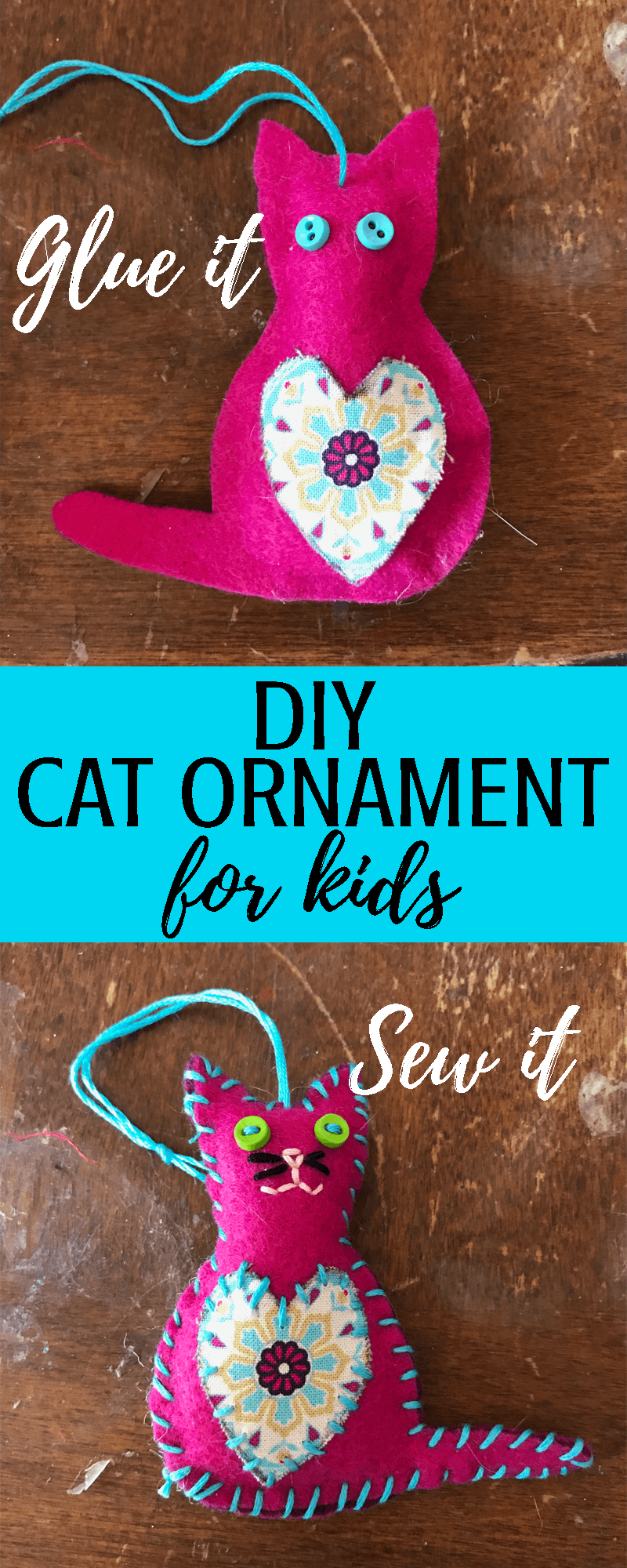 DIY Cat Christmas tree ornament craft for kids These