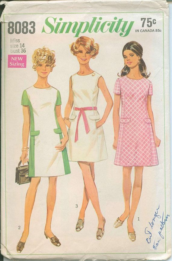 1969 Simplicity 8083 Retro Mod Dress Sewing Pattern Vintage Size 14 ...