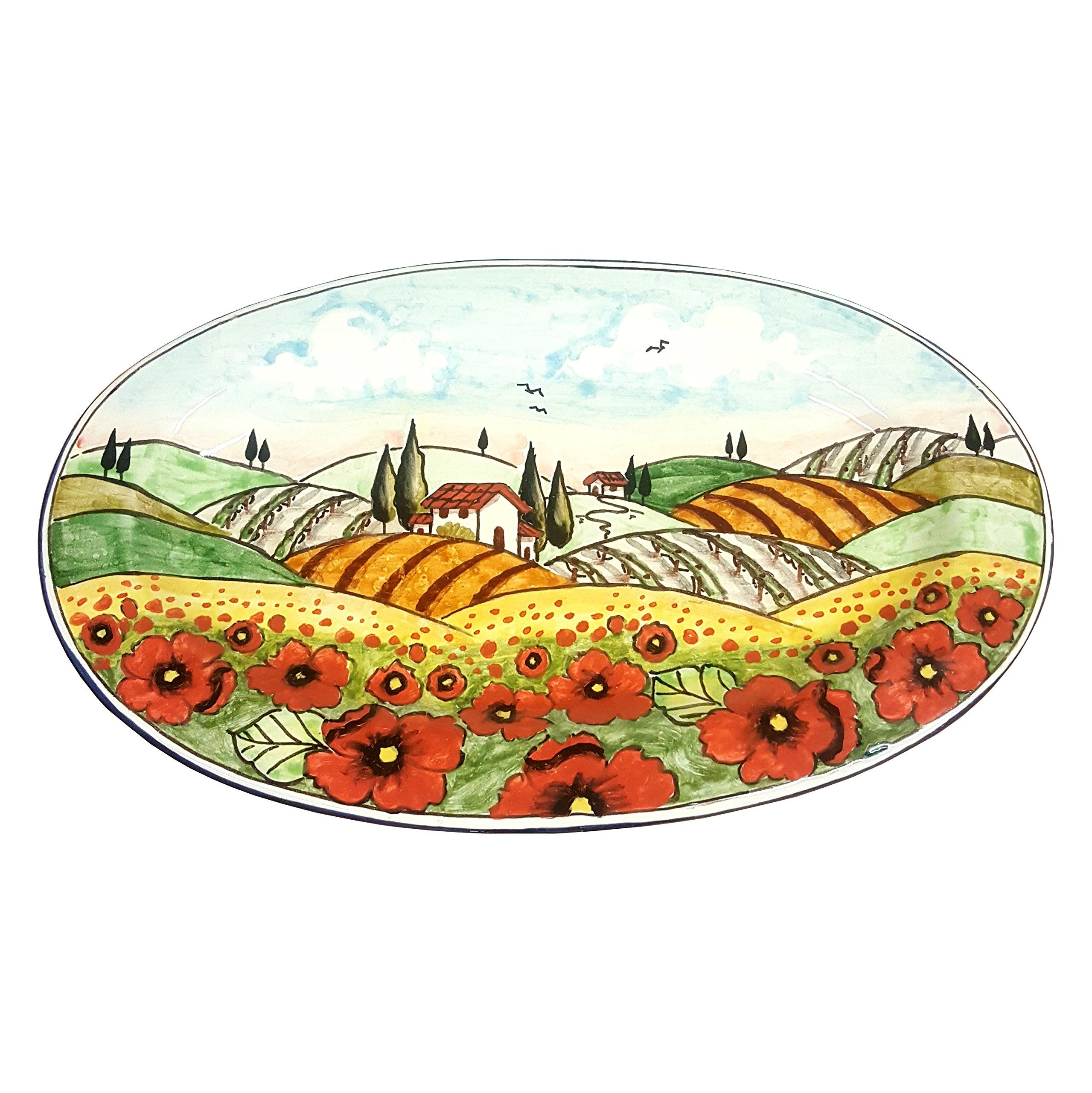 Italian Ceramic Art Pottery Plate Serving Tray Hand Painted Decorated Poppies Landscape Tuscan Made in ITALY CERAMICHE DARTE PARRINI