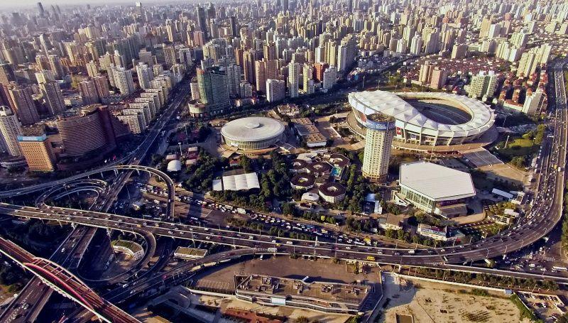 Vue aérienne du gymnase et du stade, à Shanghai