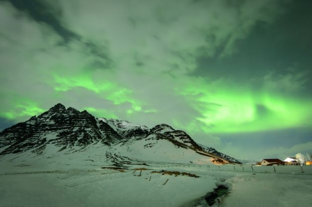 Iceland Winter Mountains Sky Snow Aurora Clouds