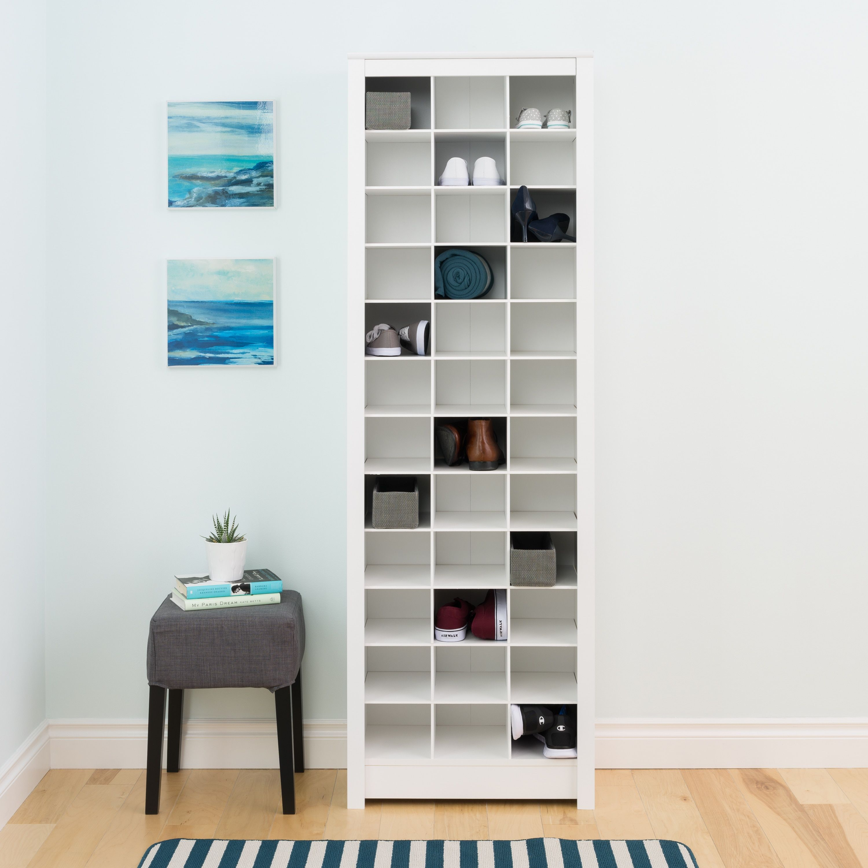 Prepac Winslow Laminate White Space Saving Shoe Storage Cabinet