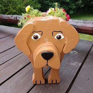 Plantador de animales dálmatas. Perros. Decoraciones de jardín de madera. Artesanal. Amante de los animales. Interior/Exterior
