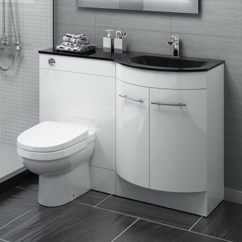1200m Alexis White Gloss Right Hand Vanity Unit with Black Glass