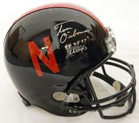 Tom Osborne signed Nebraska Cornhuskers Black Riddell F/S Replica Helmet w/94,95,97 Champs