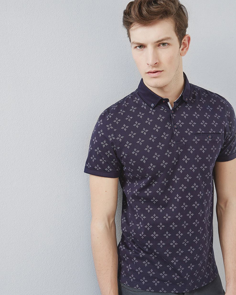 67e6022f Diamond print polo shirt - Navy | Tops & T-shirts | Ted Baker SEU ...