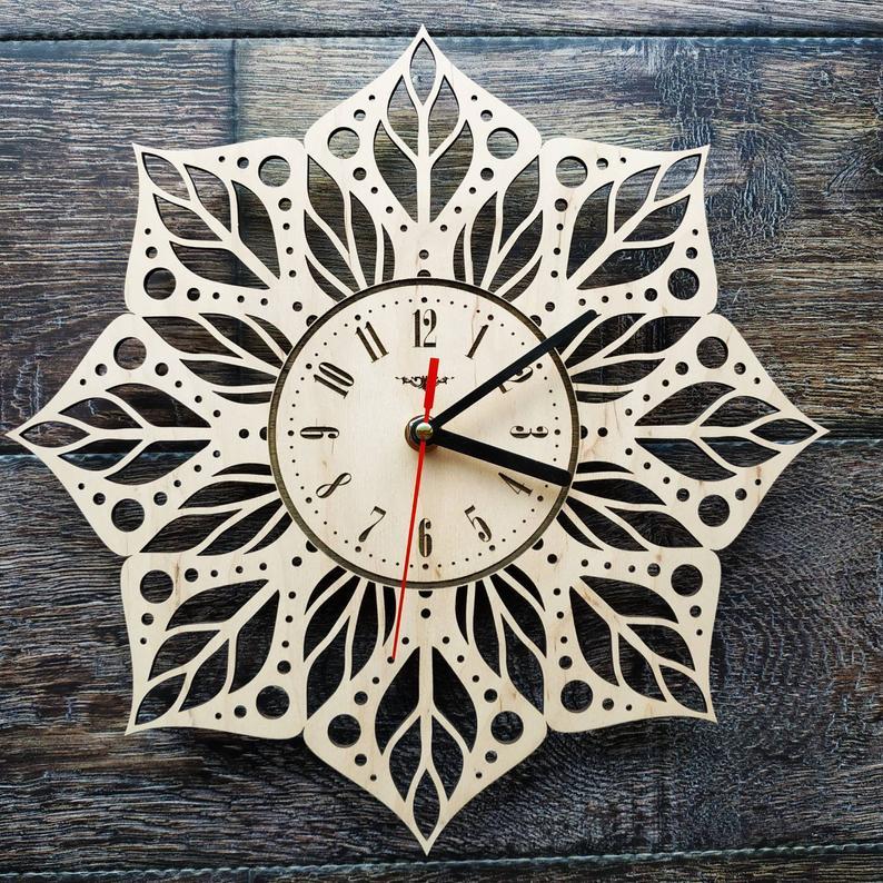Mandala Flower Wall Clock Sacred Geometry Yoga Clock Modern Etsy In 2020 Handmade Wall Clocks How To Make Wall Clock Wall Clock