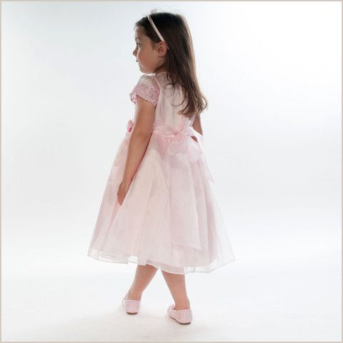Lucy Pink Embroidered Flower Girl Dress