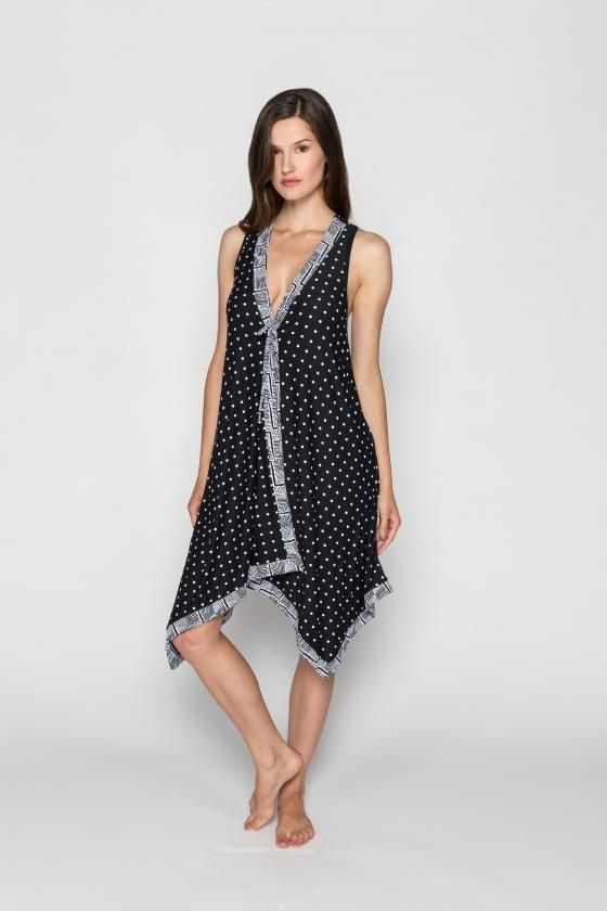 ba5bce2ea7 Coco Reef Swim Kenya Dot Mix Scarf Dress Cover Up. Color black and white.  This swim suit cover up is a pull over dress with uneven hem.