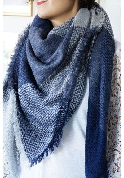 Echarpe-plaid Gina gris et bleu   Collection Automne-Hiver 2017-2018 08116df6eff