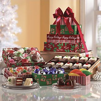 Sugar free holiday tower from the swiss colony rejoice in a nuts snacks rejoice in a spirited collection of holiday feastingthis sugar free gift tower features mouth watering saltwater taffies and cherry negle Image collections