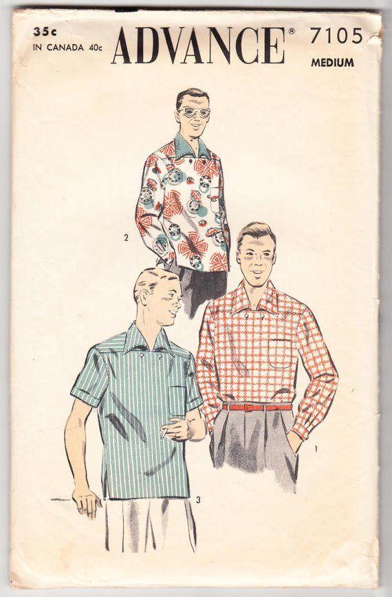 Vintage 1950 Advance 7105 Sewing Pattern Men\'s Sport Shirt Size 15 ...